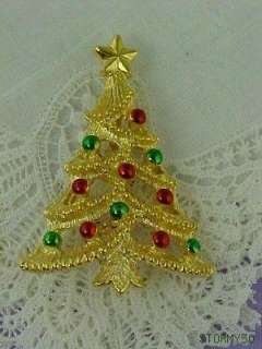 Vtg Gerrys Christmas Tree Pin Brooch with Ornaments