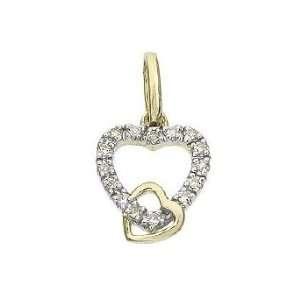 14k Real Gold Diamond Heart D Pendant Charm 17104