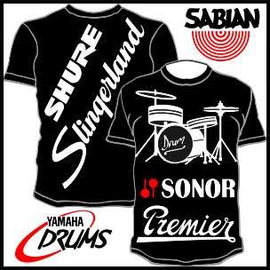 Drums Cymbal T Shirt Polo Premier Sabian Shure Slingerland Sonor