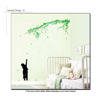 BOY & TREE DECOR MURAL ART WALL STICKER DECAL REMOVABLE