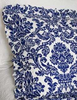 BLUE & WHITE DAMASK COTTON TOILE QUEEN DUVET COVER SET