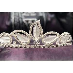 Princess Bridal Wedding Tiara Crown with Leaf Crystal