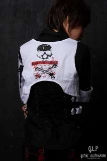 71183 Western Kera Shop Unisex PUNK Rock GOTHIC SHIRT+Vest 2pcs Black