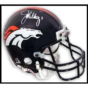John Elway Autographed/Hand Signed Mini Helmet Sports