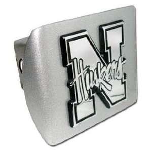 Univ. of Nebraska Huskers Brushsed Chrome Hitch Cover Automotive