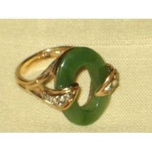 Jade w/ Rhinestones & Gold Tone Size 6 Costume Ring