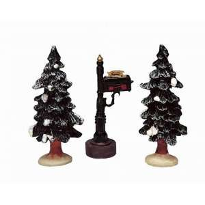 Lemax Christmas Village Collection Mailbox With Pine Trees 3 Piece Set