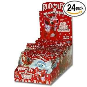 Flix Candy Rudolph Lip Pops Lollipops, 1 Count Lollipops (Pack of 24)