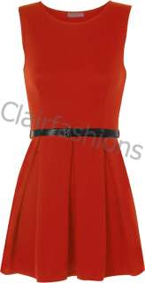 New Ladies Belted Flared Skater Short Mini Dress Sleeveless Pleated