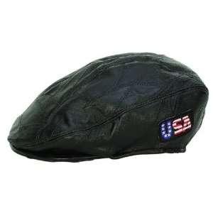 Diamond Plate Rock Design Genuine Leather Flat Cap
