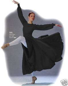 BLACK Liturgical Praise Church Dance Dress 230 C M 8 10