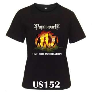 Papa Roach Time For Annihilation Black White T shirt