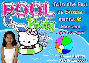 HELLO KITTY POOL PARTY BIRTHDAY PARTY INVITATIONS