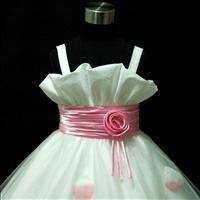 P05 Baby Pink Wedding Party Flower Girls Dress + Jacket Set SZ 2 3 4