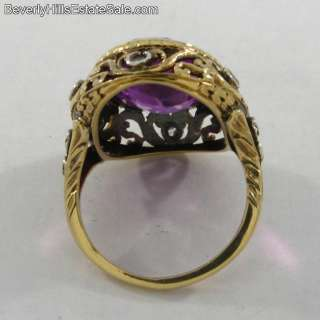 Antique Art Deco 18k Diamonds Amethyst Ring