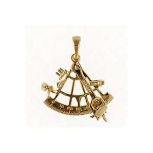 Reyes del Mar 14K Gold Sextant Small Nautical Pendant