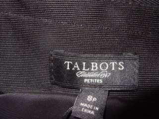 TALBOTS black faille classic shift dress PLEATED neckline $189 NWT 8P