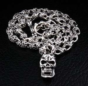 FLAMING SKULL STERLING SILVER BIKER CHAIN NECKLACE NEW