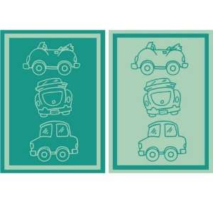 Baby & Toddler Blanket   Cars: Light & Medium Green: Baby