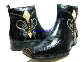 Mens Italian Style Designer Fashion Boots Easy On Side Zipper