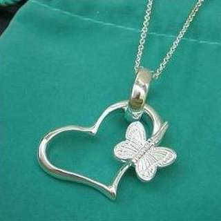 FASHION JEWELRY BUTTERFLY ON HEART SILVER NECKLACE VALENTINES DAY