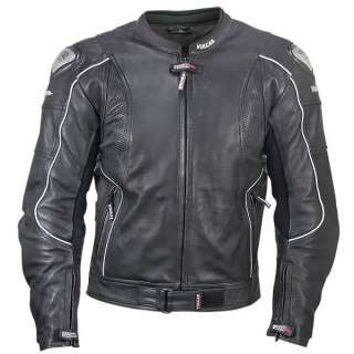 Leather Motorcycle Jacket with Perforated Leather Panels XL