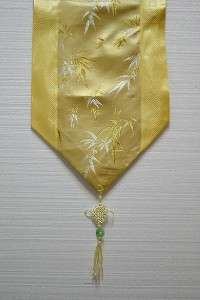 Chinese Silk Brocade Table Runner with Tassels Gold Bamboo 78L FTR 03