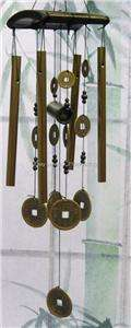 Feng Shui Chinese Lucky Wood Brass Coin Wind Chime Wealth Fortune