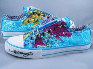 Womens Ed Hardy Lowrise Turquoise Blue Koi Fish Shoes