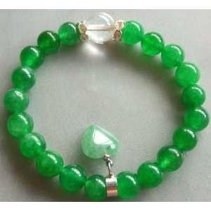 Green Jade Heart Shape Bead Beads Elastic Bracelet