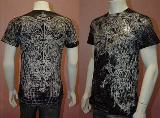 New MENS T Shirt Gothic Design Fleur De Lis with Wings & Siver Glitter