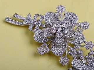 Silver Tone Holiday Spirit Floral Branch Swarovski Crystal Rhinestone