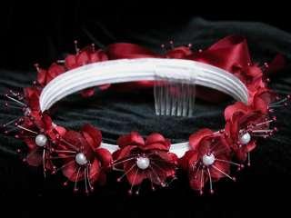 BURGUNDY Formal Dress Flower Girl Crown Headpiece