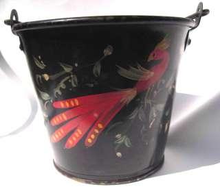 antique FOLK ART BUCKET tole paint BIRD FLOWER pa dutch