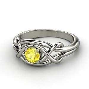 Infinity Knot Ring, Round Yellow Sapphire 14K White Gold