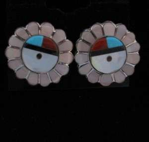 Indian Earrings Sunface Multistone Inlay Sterling Lionel Pacheco Lucio