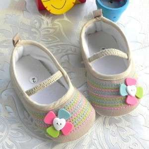 Colorful Stitches Mary Jane Baby Girls Ballet Shoes US sz 3, 4