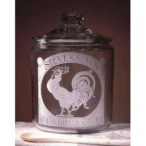 Personalized Rooster Theme Glass Cookie Jar Kitchen
