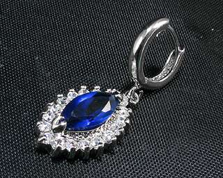 Xmas Fashion Jewelry 17mm Marquise Cut Blue Sapphire White Gold GP