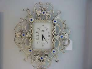 SILVER WALL CLOCK WITH ENAMEL BEADS & PENDULUM