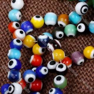 8mm Mix Color Round Lampwork Glass Evil Eye Loose Beads