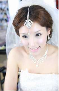 Bridal Faux Pearl Crystal Rhinestone Belly dance Maang tikka Headpiece