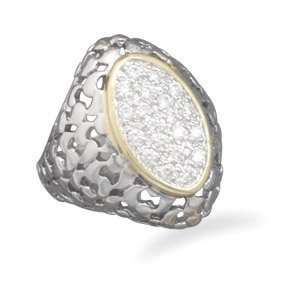 Rhodium and 14 karat gold plated fashion ring with CZs