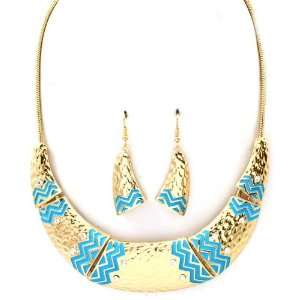 Sparkles Fashion Necklace   Gold and Blue Necklace and Earring SE