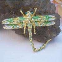 Peridot Swarovski Crystals Dragonfly Insect Brooch Pin