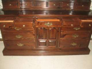 Old Tavern Antiqued Pine Triple Dresser with Mirrored Hutch Top