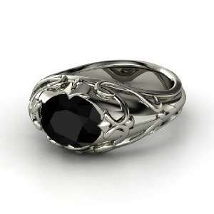 Hearts Crown Ring, Oval Black Onyx Sterling Silver Ring Jewelry