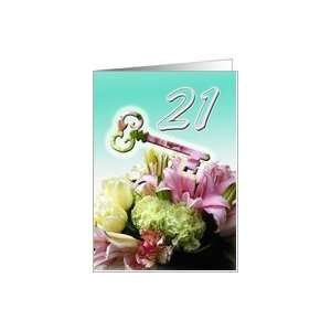 21st Birthday Invitation   Key and Flower Bouquet Card: Toys & Games