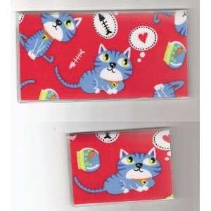 Checkbook Cover Debit Set Kitty Cat Fish Bones