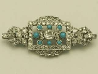 Diamond, Turquoise and White Gold Brooch   Art Deco Style   Antique